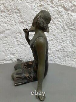 REGULE S. MILAN SALVATORE MELANI femme à l'éventail ART DECO statuette