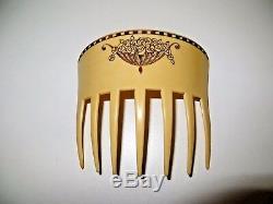 Rare Grand Peigne Art Deco Signe Auguste Bonaz Old Hair Comb