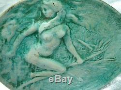 Rare PLAT JEAN MAYODON Siréne femme dans les roseaux ART DECO 1930