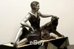Rare Statue Art Deco Femme Panthere 1920/1930 Limousin
