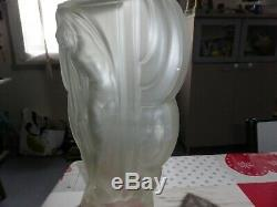 Rare Vase Etling Art Deco Femme Nue Drappee France 39