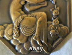 Rare médaille BRONZE PIERRE TURIN ART DECO Exposition PARIS 1925 FEMME nue
