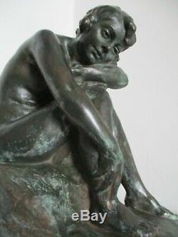 Rare sculpture statue Alfred Finot pour AMALRIC WALTER Art Nouveau/ Déco Femme