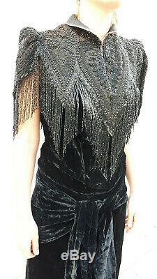 Rare superbe authentique robe de soirée boléro 1920 années 20 Art Déco dress