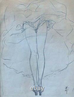René Gruau Femme du moulin rouge Dessin au crayon Signé