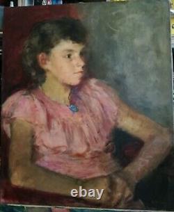René Thomsen portrait huile sur toile Ecole de Paris jeune femme