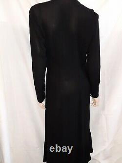 Robe en crêpe de soie vers 1925 noire et plissée art déco t 38/40 vintage dress