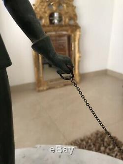 STATUE Art Deco chasse chien Femme