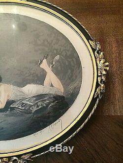 SUPERBE GRAVURE ART DÉCO LA FEMME A LA LETTRE signée J. HARDY