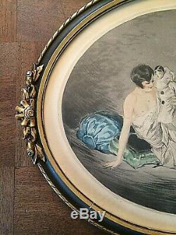 SUPERBE GRAVURE ART DÉCO LA FEMME ET LE PIERROT signée J. HARDY