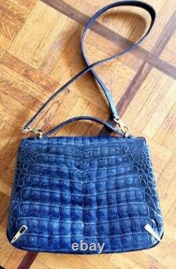 Sac Bag Crocodile Veritable Art Deco Bleu Or Et Acier Made In France Vintage