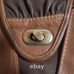 Sac à main bandoulière cuir bronze fait main femme vintage art déco France N4621