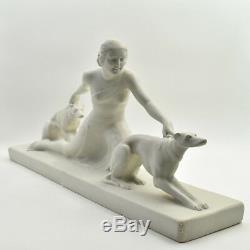 Salvatore Melani Femme aux levriers Art Deco sculpture 1930 élegante