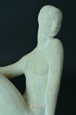 Sculpture Ancienne signée Henri DULER Jeune femme nue Assise art Deco Pierre