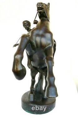 Sculpture Art Deco En Bronze Signée Anton Grath Femme Amazone Nue Sur Cheval