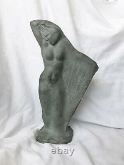Sculpture Art Déco Signée Femme Harpe FRENCH Artist Archipenko Frères Martel
