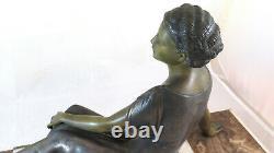 Sculpture En Bronze Art Déco Antique Signé Uriano Ugo Cipriani Femme BM4