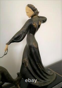 Sculpture, Statue Chryselephantine Femme Aux Levriers Art Deco