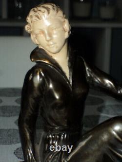 Sculpture Statue Chryselephantine Régule Doré Femme Aux Cygnes Art Déco 1920/30