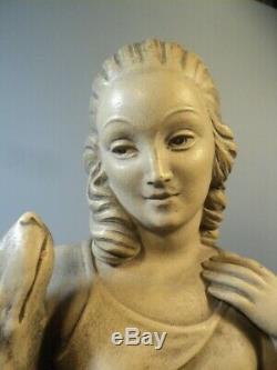 Sculpture Terre Cuite Art déco Femme aux Chiens Signée Madem