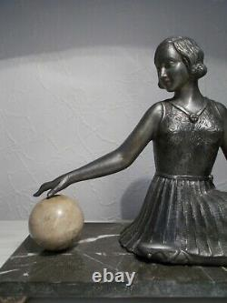 Sculpture art deco 1930 femme danseuse russe statuette en regule dancer woman