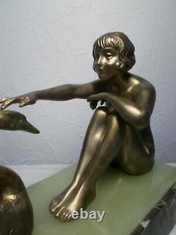 Sculpture art deco 1930 femme nue au cygne statuette woman naked bronze color