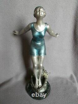 Sculpture art deco 1930 statuette femme baigneuse bathing beauty statue figurine