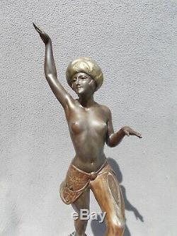 Sculpture art deco 30s LIMOUSIN statue femme danseuse orientale en regule bronze