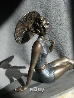 Sculpture art deco BALLESTE statuette femme baigneuse bathing beauty figurine