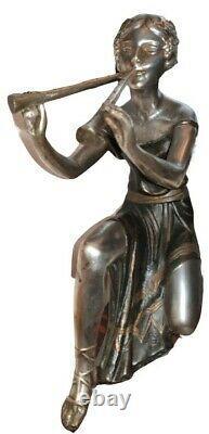 Sculpture art deco ancienne femme a la flute en régule argenté et galalithe
