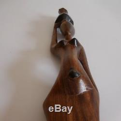 Sculpture bois statuette femme africaine fait main art déco ethnique design XXe