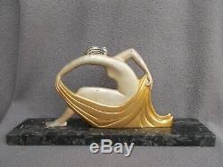 Sculpture en bronze art deco 1925 T. HORIO femme danseuse nue statue nude dancer
