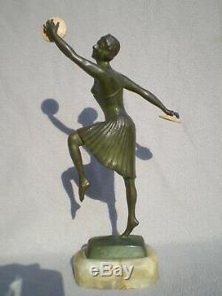 Sculpture en bronze art deco 1930 g. Vacossin femme chryséléphantine antique 30s
