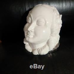 Sculpture faïence de Paris Art Deco NELLY POLLAK & PAUL BOCQUILLON visage femme