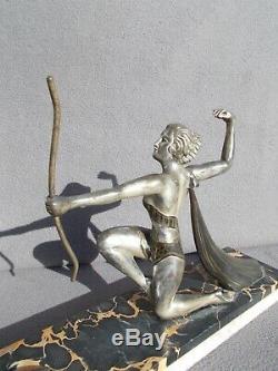 Sculpture femme & oiseau art deco 1930 vintage spelter statue figural woman bird