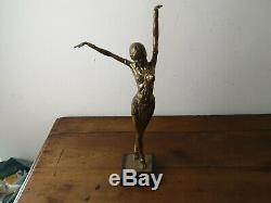 Sculpture moderne récente de style art déco femme danseuse d après chiparus