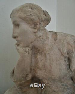 Sculpture statue A. Finot (1876-1947) Nancy Femme au Baluchon Era Wittmann Degas