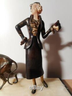 Sculpture statue régule art déco chryselephantine femme lévrier socle marbre