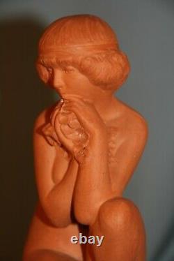 Sculpture statue terre cuite jeune femme l'aube Real del Sarte année 30 art deco