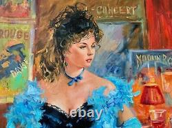 Sergey Ignatenko Tableau Huile Portrait Belle Epoque Femme Élégante Robe Bleue