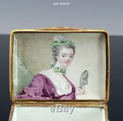 Soignée Tabatière de Porcelaine 1780 Portrait une Femme Relief Décoration