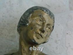 Statue Art Deco Femme Oiseau Et Chien