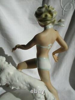 Statue Femme Levrier Barzoi Biscuit Ancien Art Deco Schaubach Kunst Germany