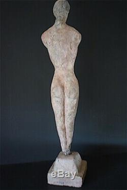 Statue Femme Nue Béton Terre Cuite Art Déco Art Moderne 1951 XX 20th 64 cm