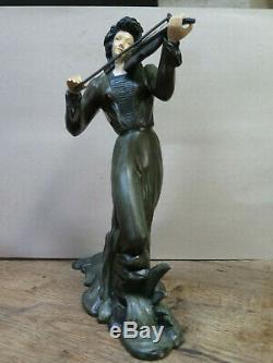 Statue art deco chryselephantine violoniste femme