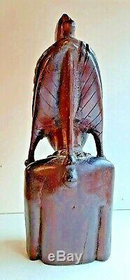 Statue buste de femme Africaine art déco en bois ébène haut 40 diam 15 cm