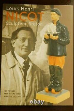 Statuette Henriot Quimper NICOT art déco femme à la quenouille h=23cm Exc état
