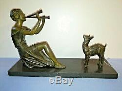 Statuette Sculpture Art Déco Femme Musicienne Au Faon 1920/1930 Signée