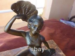 Statuette regule art deco, femme sur socle marbre, 17x20 et 10x25cm, années 30