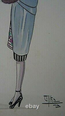 Superbe Aquarelle Originale Art Decoratif Mode Femme Datee 1919